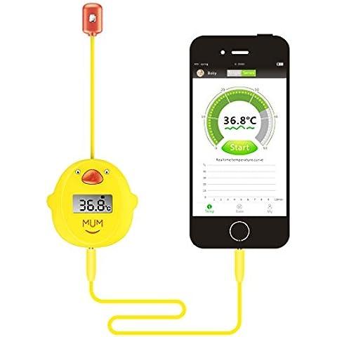 MUMWITH Bebé y Adulto Smart Exacta Digital Lindo Termómetro , Prueba y Monitor de Fiebre de Temperatura Corporal , con Seguro Flexible Sensor (Material Sspecial Sala de UCI)de Las