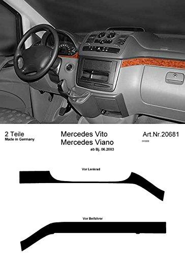 Prewoodec Cockpit Dekor in Wurzelholzoptik (20681/96) für Mercedes Viano - ab 06.2003, alle Modelle, 2 Teile, Armaturenbrett