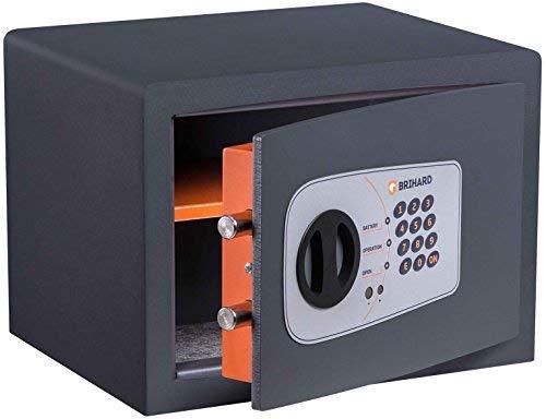 Brihard Protector P25E Caja fuerte Electrónica Blindada 25x35x25cm HxWxD, Gris Titanio