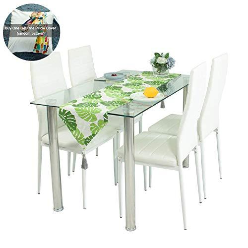 Juego de mesa de comedor de cristal con sillas de espuma, piel sintética acanaladas y patas cromadas. Juego de 4 sillas y mesa de comedor rectangular contemporánea de 120 x 70 x 75 cm, color blanco