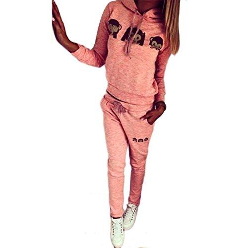 Hoodie Sannysis Damen Karikatur Affe Lange Ärmel Trainingsanzug Sweatshirt Sport-Anzug Set (S, (Anzug Affen)