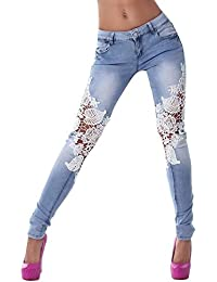 e14d4ea03be131 FRAUIT Damen Spitze Muster Jeans Hose Nähen Jeans Skinny Pencil Pants Denim  Hose Mode Wunderschön Design