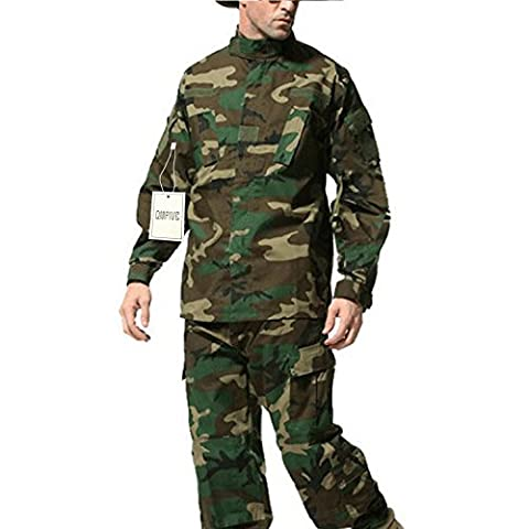 QMFIVE Tactical Woodland Camo Men BDU Combat Uniform Jacket Shirt & Trousers Suit Woodland Camo for War Game Army Military Paintball Airsoft Hunting Shooting (XXL)