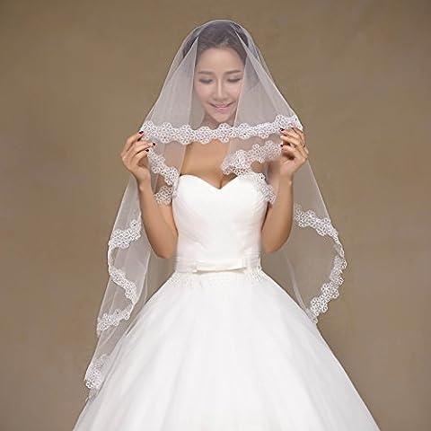 Accesorios hermosa novia de encaje corta del párrafo blanco de marfil del cordón velo de novia Taladro
