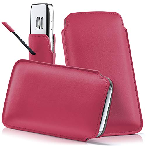 moex Samsung B2710 | Hülle Pink Sleeve Slide Cover Ultra-Slim Schutzhülle Dünn Handyhülle für Samsung B2710 Case Full Body Handytasche Kunst-Leder Tasche