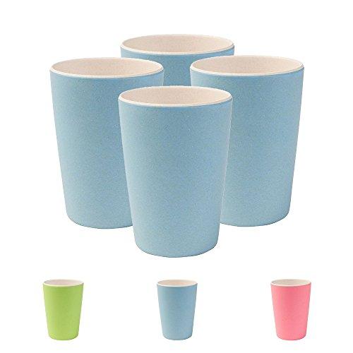 Hochwertiges Kindergeschirr von Kaufdichgrün I 4 teiliges Bambus Becher Set BPA frei,...