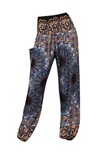 HAREM pantaloni - ALADDIN HIPPIE pantaloni con 18 motivi diversi Floral Paisley Grey
