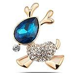 YSWEET Ladies Brooch Deer Crystal High-Grade Spilla Small Animal Brooch Christmas Femminile, Blu
