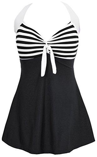 Monokini Badeanzug Baden (EUDOLAH Damen Retro Vintage Einteiliger Badekleid V Ausschnitt Badeanzug mit Röckchen (L (EU 36-38), Black))