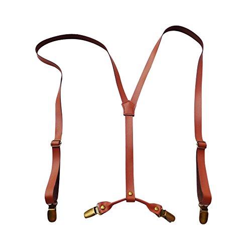 Lawevan® Hosenträger für Herren und Damen, Braun, Leder, Y-Form, Metall Clips, 1,5cm breit, british, englisch, klassisch Stil