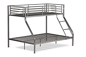 Amani International Twin Sleeper Bunk Bed, Metal, Silver