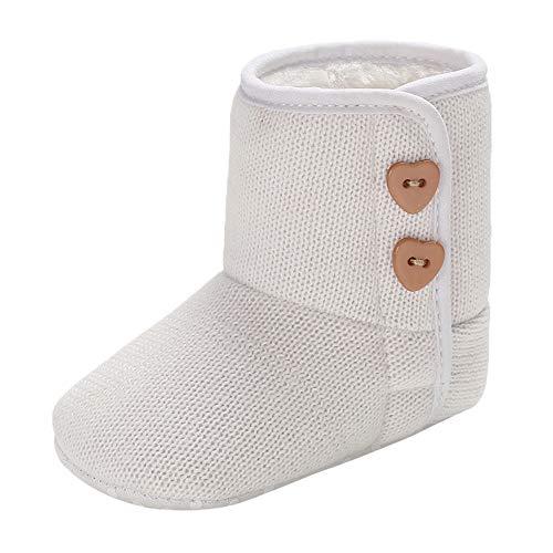 MCYs Baby Mädchen Jungen Kaschmir Winter Button Stiefel Prewalker warme weiche Sohle Schuhe Schneeschuhe (Button Baby Schuhe)