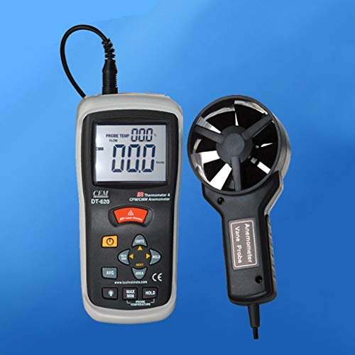 Zcyg Anemometer Wind Speed Meter Handheld Windmeter Luftvolumen- und Lufttemperaturtest, mit Infrarot, for Helikopter Windsurfing Kite Flying Sailing -
