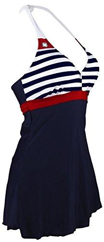 Gigileer Damen Frauen Badeanzug Bademode one Piece Marine Streifen Rock Shorts Rot XL EU 38-40 - 2