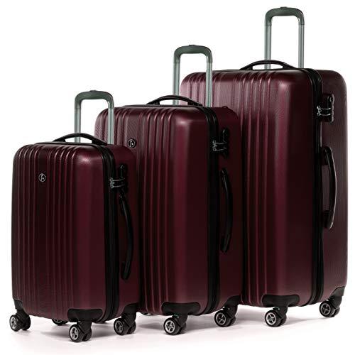 FERGÉ Set di 3 valigie viaggio espandibile TOLOSA - bagaglio rigido dure leggera 3 pezzi valigetta 4 ruote girevole rosso