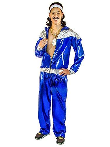 fancy dress warehouse 80er Jahre Trainingsanzug Herrenkostüm Blau -