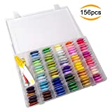 Broderie Floss - Jusoney 156Pcs Broderie Thread String Kits Comprend 100 Couleur 100% Coton Rainbow Embossery Floss et 56Pcs Broderie Outils Kits Avec Organisateur Boîte De Rangement Holder Case pour Ami Bracelets
