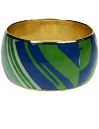 Wide brass bangle with abstrct pattern design in green and blue 566-gw