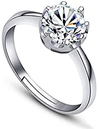 Shining Diva Fashion AAA Solitaire Platinum Plated Stylish Adjustable Ring For Women