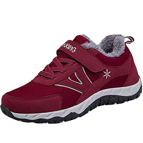 Frauen Winter Einfarbig rutschfest Schneeschuhe Damen Warme Runde Zehe Bequem Flache Schuhe