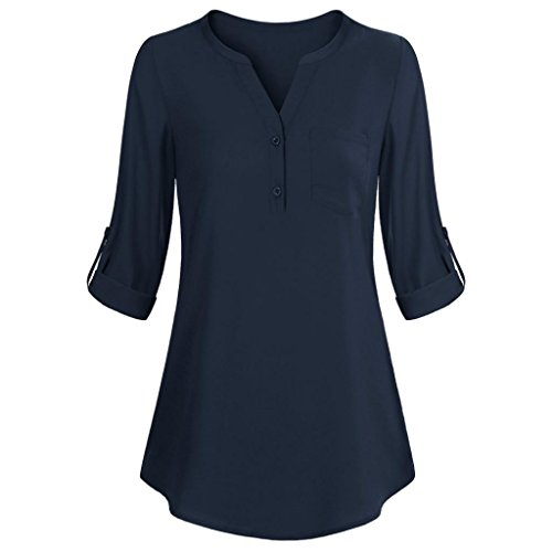 Layered Jersey-t-shirt (VEMOW Elegant Damen Tops Langarm Roll-Up Top Casual V-Ausschnitt Knopf Layered Shirt Blusen Tunika T-Shirts(Y1Marine, EU-40/CN-S))