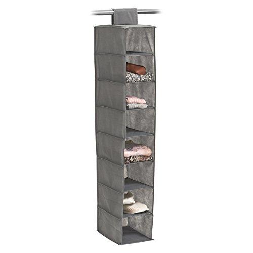 Zeller 14614 Hänge-Aufbewahrung, 8 Fächer, Vlies, ca. 18 x 30 x 105 cm, grau, Stoff (Stoff-box)