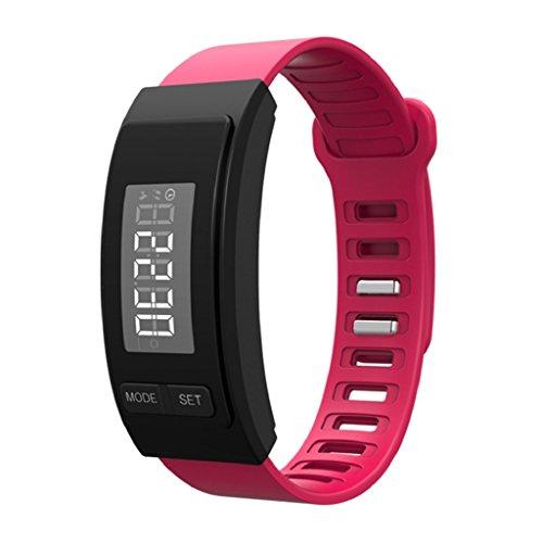 CICIYONER H4 Modern Run Step Schrittzähler Uhrenarmband Kalorienzähler Digital LCD Walk Distance 5 Farben (Rosa)