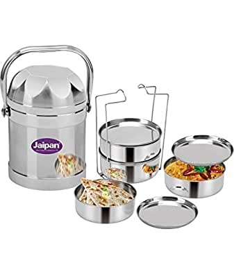 Jaipan Silver Stainless Double walled Steel Tiffin Set