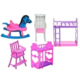 Yosemite Girl Princess Dollhouse Funiture Set Bunk Bed Chair Trojans Kids Room Toys