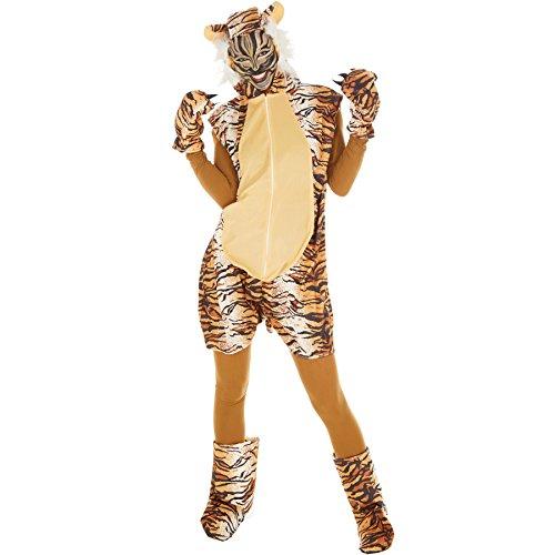 Kostüm Tiger für Sie und Ihn | Aus weichem Fellimitat | Ärmellos und vorne mit praktischem Reißverschluss | inkl. warmen Handschuhen, Beinstulpen und Ganzkörperstrumpfhose (M | Nr. (Party Männer Dschungel Kostüme)