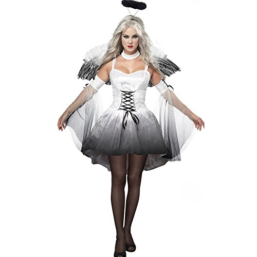 Kostüme Gothic Teufel (Cosfun Damen schwarzer Engel Hexe Cosplay Kostüm Kleid Karneval Halloween Fasching)