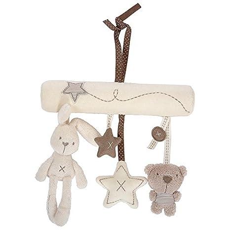 Vi.yo Crib Stroller Hanging Toys Plush Rabbit Star Bear Baby Cute Soft Plush Bed Toys Activity Musical