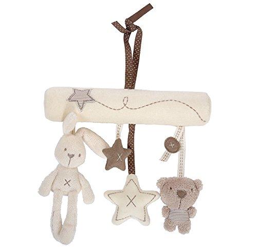 Westeng Bebé música de peluche para cochecito de bebé juguetes de peluche conejo colgante de en forma de estrella