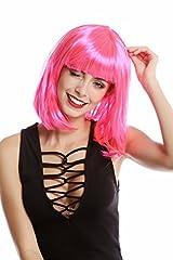 Idea Regalo - WIG ME UP ® -0073-3-PC5 Parrucca Donna Carnevale Bob Lungo Bob Altezza Spalle Liscia Frangetta Pink Rosa