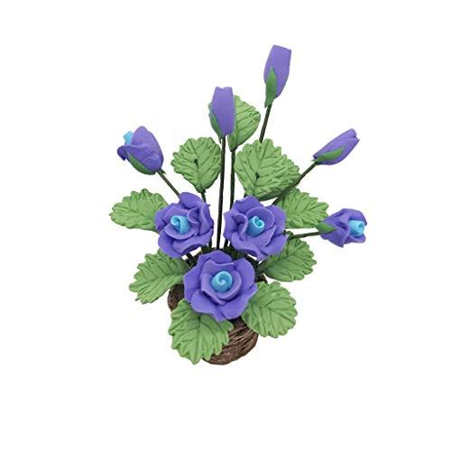 1/12 Puppenhaus Miniatur gefälschte grüne Pflanze Blume im Topf Fairy Garden Familienspiel Modell, das Mädchen mögen (C) ()