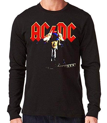 35mm - Camiseta Hombre Manga Larga - Acdc - Ac/Dc - Angus Young - Long Sleeve Man Shirt, NEGRA, XXL