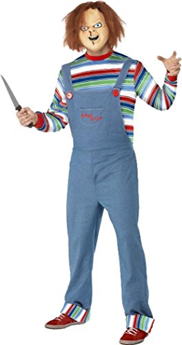 (Smiffys Erwachsene Herren Film & TV Lizenzprodukt Fancy Kleid Chucky männlich Kostüm Komplettes Outfit)