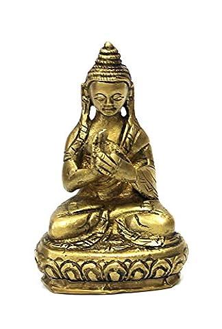 Deko Figur Buddha Figur Vairocana sitzend, Statue aus Messing, Höhe 7,5 cm klein, asiatische Gottheit Dhyani-Buddha auf Lotos Thron