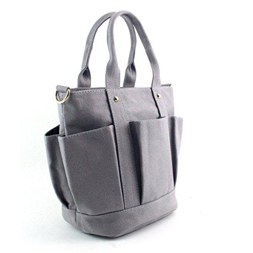 Longra Borsa a tracolla donne moda Canvas Handbag Grigio