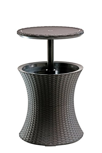 Keter Pacific Rattan Style Outdoor Cool Bar Ice Cooler Table Garden Furniture – Brown