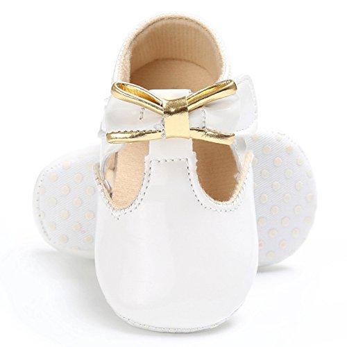MiyaSudy Babyschuhe Neugeborenes Mädchen Schuhe Bowtie PU leder Erste Wanderer Weiche Alleinige Prewalker Schuhe Lauflernschuhe Krabbelschuhe Weiß