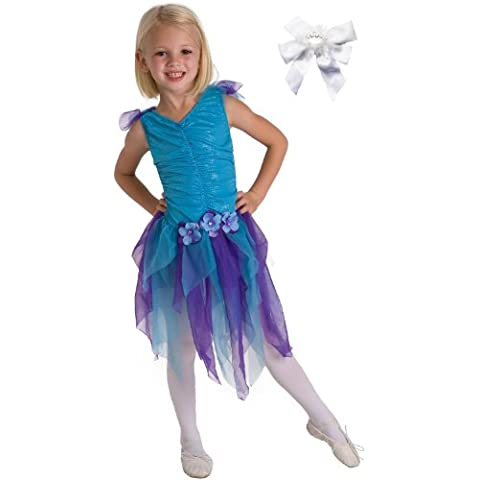2 Item Bundle: Little Adventures 13062 Teal Fairy Princess Dress Up Costume (Ages 3-5) + Free Hair Bow