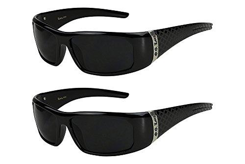 2er Pack Locs 9069 X 06 Sonnenbrillen Herren Damen Männer Brille - 1x Modell 05 (schwarz glänzend - Square-Design/schwarz getönt) und 1x Modell 05 (schwarz glänzend - Square-Design/schwarz getönt)