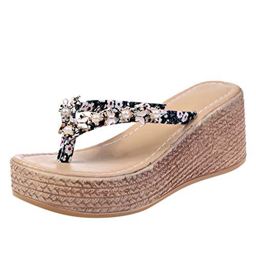 Pingtr - Damen Hausschuhe,Hausschuhe weibliche Strandschuhe Flip Flops Sommer Prise Wedges Damen Sandalen
