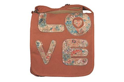 K:s me Schultertasche Love • Tasche canvas für Mädchen • Tasche für Damen • mit Magnetverschluss • Messengerbag (Orange)