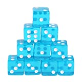Manyo 10pcs 6 Seitige Transparent Würfel, leicht und tragbar, perfekt für Brettspiel, Club und Bar Spiel Tool, Familienspiel, Math Teaching. (Blau)