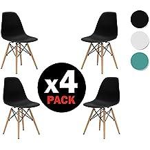 due-home, Nordik)–Pack 4sedie Tower Nero, Sedia Replica Eames nera e legno di faggio, dimensioni: 47cm Larghezza x 56cm fondo X 81cm altezza