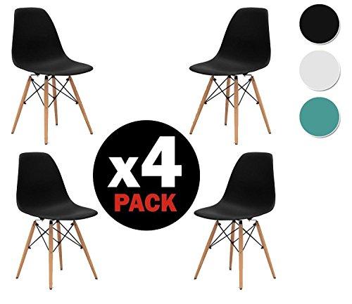 Due-home (Nordik) - Pack 4 sillas tower Negro, silla réplica eames negra...
