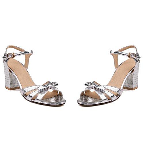 AIYOUMEI Damen Blockabsatz Knöchelriemchen Sandalen mit Schleife und Schnalle Chunky Heel Sommer Schuhe Silber