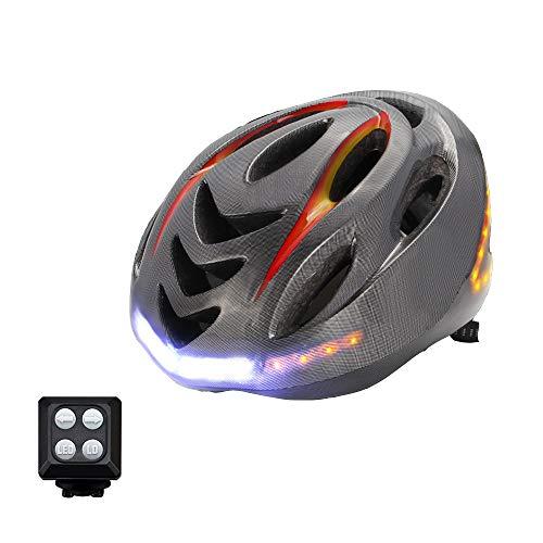 GWJ Casque De Vélo Intelligent avec Télécommande sans Fil pour Clignotants, Étanche IP55, Chargement USB, De La Batterie Jusqu'à 6 Heures - Casque De Cyclisme Certifié CPSC Et CE